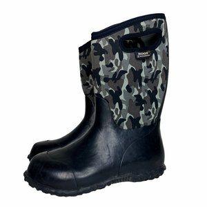 BOGS K Durham Grey Camo Youth Rain Neoprene Boots